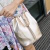 Bolso blanco de la honda del cubo de las mujeres de Clourse de la cremallera del hombro de la cadena del cuero del color (XD151164)