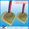Medalla antigua del metal de la dimensión de una variable del corazón del oro de las medallas de encargo