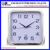 Reloj de pared plástico del marco de la insignia del cuadrado de plata de la impresión (Item27)