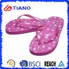 PE flip flops para niña con superior de PVC brillante (TNK10022)