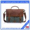 Segeltuch-echtes Leder Crossbody Laptop-Kurier-Schulter-Schultaschen-Beutel der Männer (MSB-040)