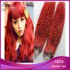 Бразильское курчавое красное микро- выдвижение волос кольца петли