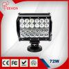Barra de iluminação impermeável do diodo emissor de luz das fileiras 7inch 4 72W da venda quente de Teehon com suporte móvel