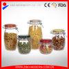 卸し売りガラスは着色されたふたが付いている安いガラス食糧瓶のガラス瓶を震動させる