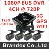 1つのチャネル1080P、4チャネル720pバスDVR、サポートGPSおよびWiFi、3G