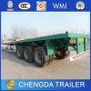 3 caminhão de reboque liso da plataforma do eixo 40feet para o uso do recipiente
