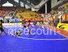 Plastik, der Futsal Bodenbelag-Meisterschaftsserie blockiert