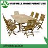 Mesa plegable al aire libre de madera maciza con silla plegable