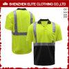 Camisas de polo curtas verdes fluorescentes do trabalho da luva da alta qualidade (ELTSPSI-17)