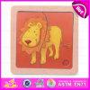 2015 puzzles en bois Shaped d'animal en couleurs, conception de lion de dessin animé badine le jouet en bois de puzzle, le jeu de casse-tête en bois bon marché drôle W14c159