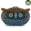 贅沢な党クラッチの財布の多色刷りの水晶ラインストーンのフクロウのイブニング・バッグLeb746