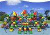 O campo de jogos ao ar livre colorido do arco-íris grande do tamanho combinou com as corrediças, corrediças da câmara de ar, montanhistas