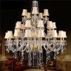 2014 Luxus Big Chandelier Amber Crystal mit Fabric Shade