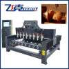 Multi-Heads Woodworking CNC Engraving Machine di 3D 4 Axis Flat&Rotay