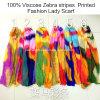 Sjaal van de Dames van de Manier van de Verkoop van de Viscose van 100% de Hete Gestreepte Strepen Afgedrukte