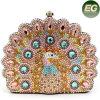 El bolso de tarde animal del diseño con el pavo real de los cristales labra los bolsos Leb727 de las mujeres