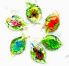 Картина Золот-Пыли и цветка внутри шкентелей формы листьев стеклянных (PENH0100)