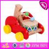 2015 Most Popular Pull Back Brinquedo para arrastar bebê, brinquedo de madeira para crianças Arraste para o Natal, Hot Sale Item Wood Bear Drums Drag Car W05b093