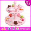 Juguete de madera creativo de la torta de los nuevos productos exóticos, dos capas de la cocina de los sistemas de los cabritos de la torta del juguete de madera W10b135 del juguete