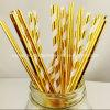 La fiesta de cumpleaños suministra la paja de papel de consumición rayada oro de la hoja