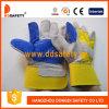 Gant en cuir fendu de double de gant en cuir de jaune de coton vache à dos (DLC329)