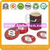 Sottobicchiere rotondo dello stagno per caffè, rilievo dello stagno del metallo con sughero