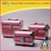 Top grado rosa de moda de aluminio de aleación caja cosmética