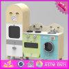 2016 brinquedos de madeira do jogo da cozinha dos miúdos por atacado, brinquedos de madeira do jogo da cozinha do projeto novo com refrigerador e máquina de lavar W10c242