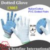 13G белый нейлон / хлопок трикотажные перчатки с голубой ПВХ точек / EN388: 214X