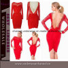 Robe lombo-sacrée de bal d'étudiants de demoiselle d'honneur rouge de lacet de célébrité de femmes (T6754)