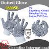 7g отбеленные полиэстер / хлопок трикотажные перчатки с 2-х сторон черный ПВХ точек / EN388: 112X