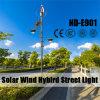 Luces de calle híbridas del viento solar con los brazos dobles