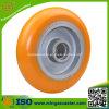 Elastische Orange PU auf Aluminiumkern-Rädern für Fußrolle