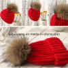 Bola hecha punto sombrero de la piel del sombrero del invierno en la tapa