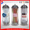 Distribuidor de palha para beber vidro de vidro com tampa em metal inoxidável