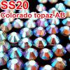 Piedra de cristal al por mayor de piedra del traspaso térmico del mundo DMC del color Ss20 del Ab del Topaz (HF-SS20 Topaz ab)
