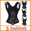 Suspender Strap Women Latex Waist Cincher Sexy Corpete Espartilho Ksu3216를 가진 까만 Leather Underbust Waist Training Corsets