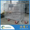 Envases amontonables industriales del acoplamiento de alambre del almacenaje con las ruedas