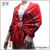 قرمزيّة نساء حمراء أطلس بايسلي شال لفاف وشاح