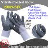 15g нейлон трикотажные перчатки с ультра-тонкий нитрил пены покрытием и крест-накрест ладони и упругой манжеты