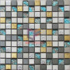 Blue Glass with Gold, Black, and Silver Stainless Steel Mosaic Tile (CFM936)