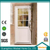 Porta de entrada pintada branca clássica do painel da madeira contínua com vidro