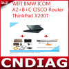 WiFi para BMW Icom A2+B+C Cisco Router Thinkpad X200t Touch Screen con Latest 2014.11 Rheiggold Software
