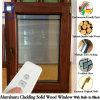 Guichet vers l'intérieur de tissu pour rideaux d'ouverture d'ouverture d'inclinaison pour des villas, guichet en aluminium solide entièrement personnalisé en bois de chêne pour des clients des Etats-Unis