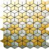 Mosaico cepillado inoxidable del cuarto de baño del mosaico de la plata del oro BMX03
