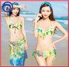 Anti-uv Swimwear Bikini 3PCS die in Digitale Druk wordt geplaatst