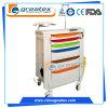 Carro Emergency plástico do ruído elétrico do hospital, trole da ressuscitação, carro médico com rodas (GT-TA3810)