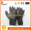 Перчатка безопасности отделки Crinkle покрытия латекса черноты раковины T/C 10 датчиков черная (DKL338)