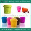 Tasse végétale pliable de silicone coloré commode