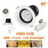 lampe d'intérieur du degré DEL du projecteur 60 de Downlights 85-227VAC du plafond 20W